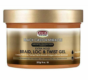 African Pride Black Castor Miracle- Braid, Loc, & Twist Gel 8oz