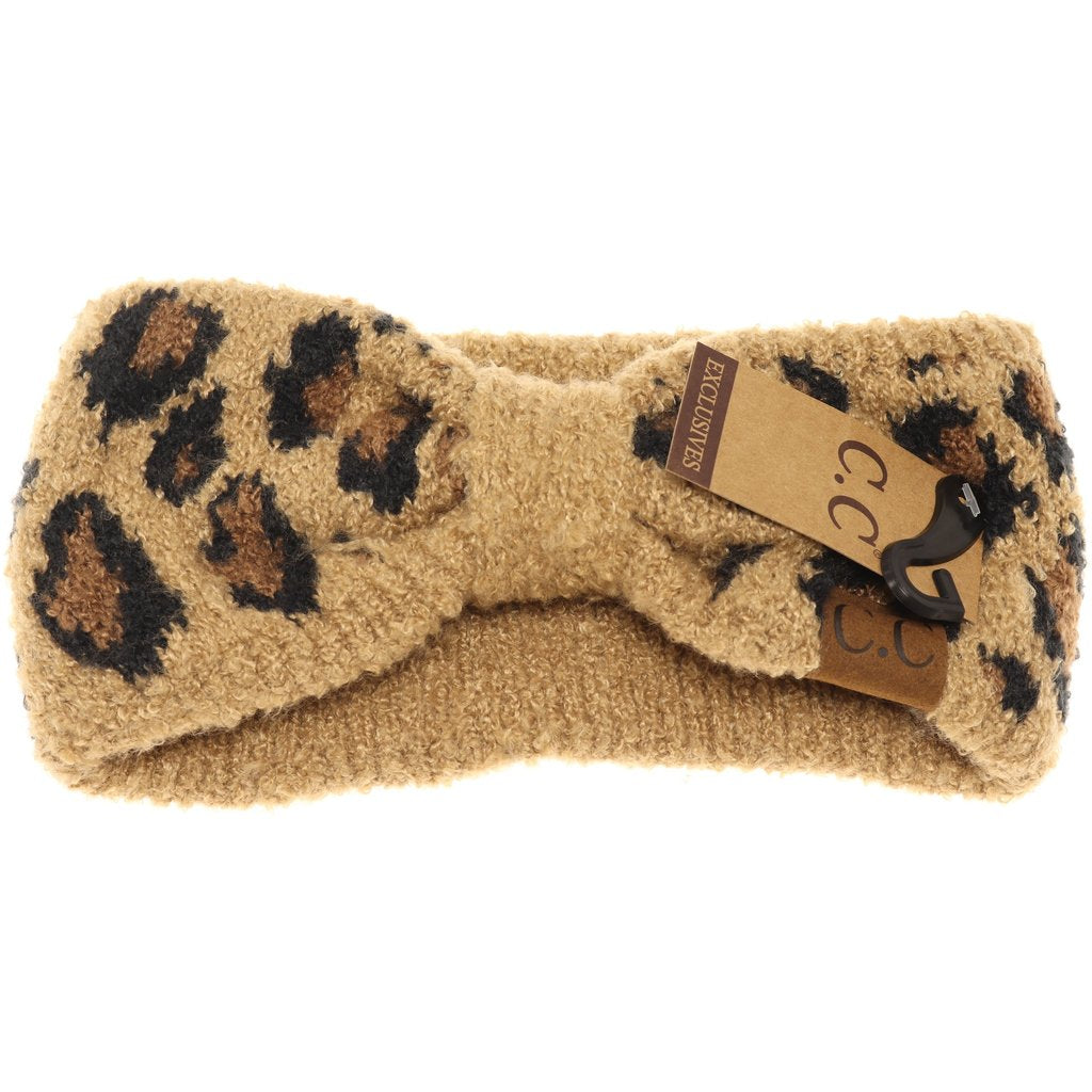 Leopard Boucle Knit Head Wrap