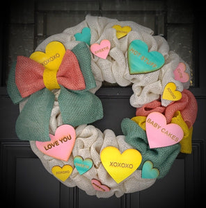 Conversation Hearts Burlap Wreath