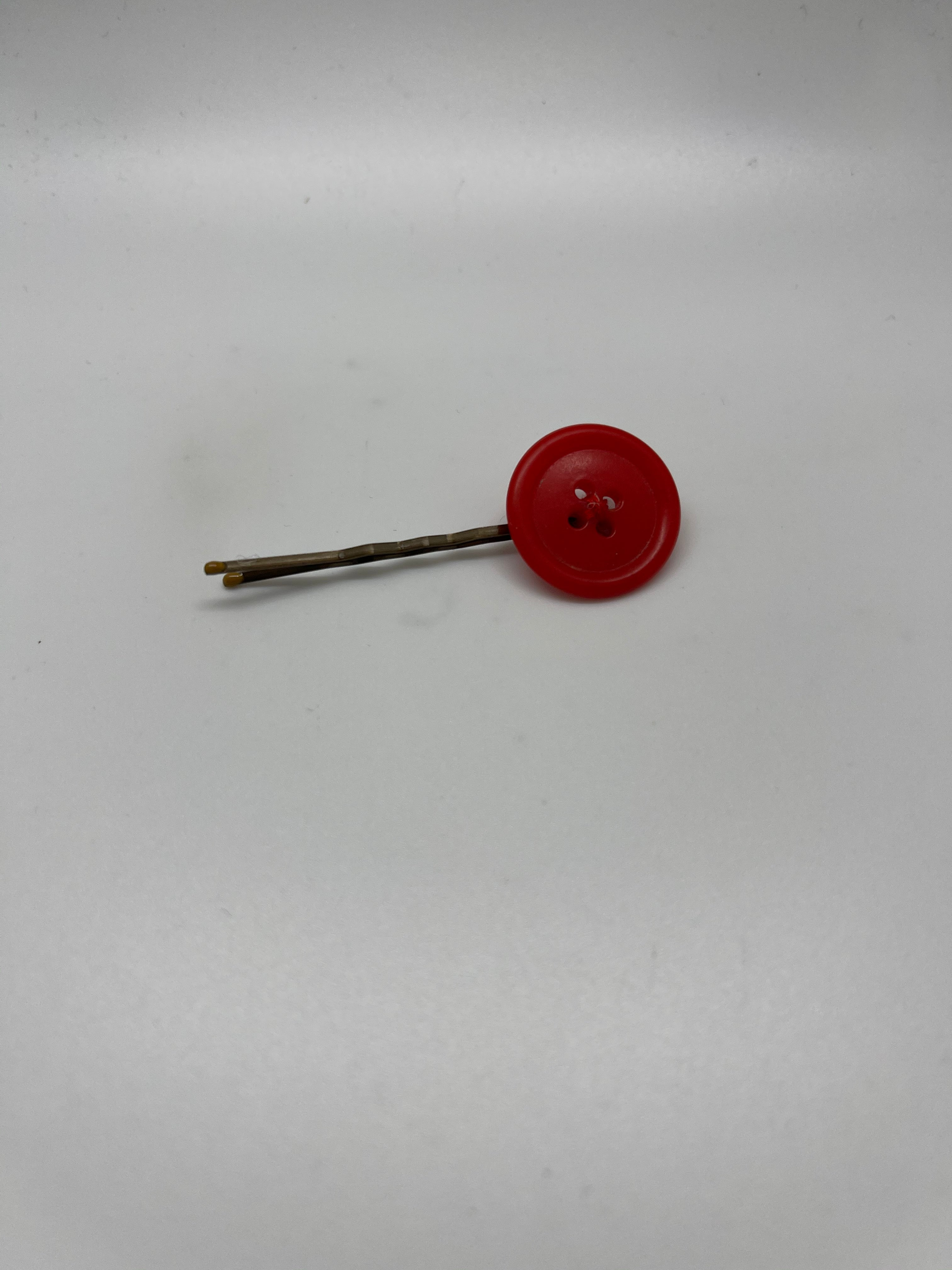 Red Button Bobby Pin