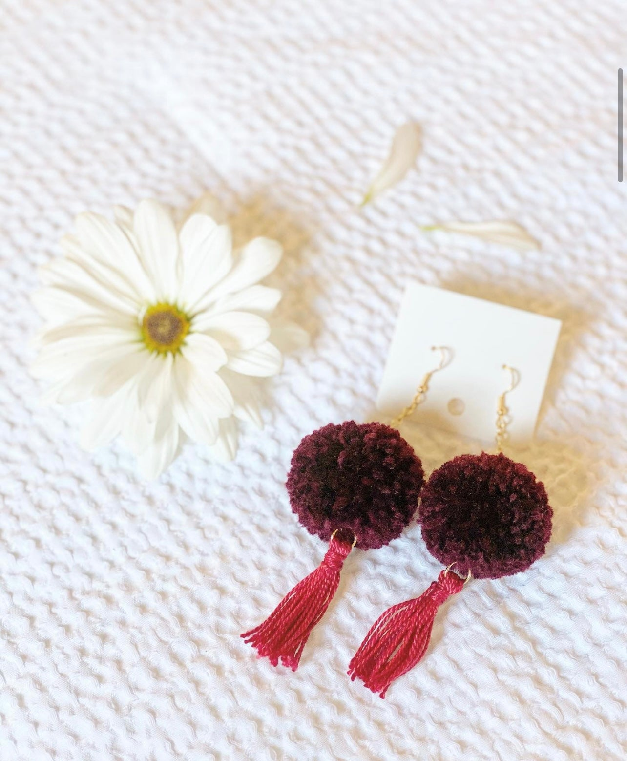 CHEERWINE TASSEL POM EARRINGS