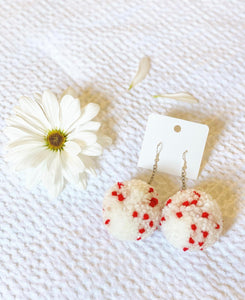 V-DAY SPRINKLE POM EARRINGS