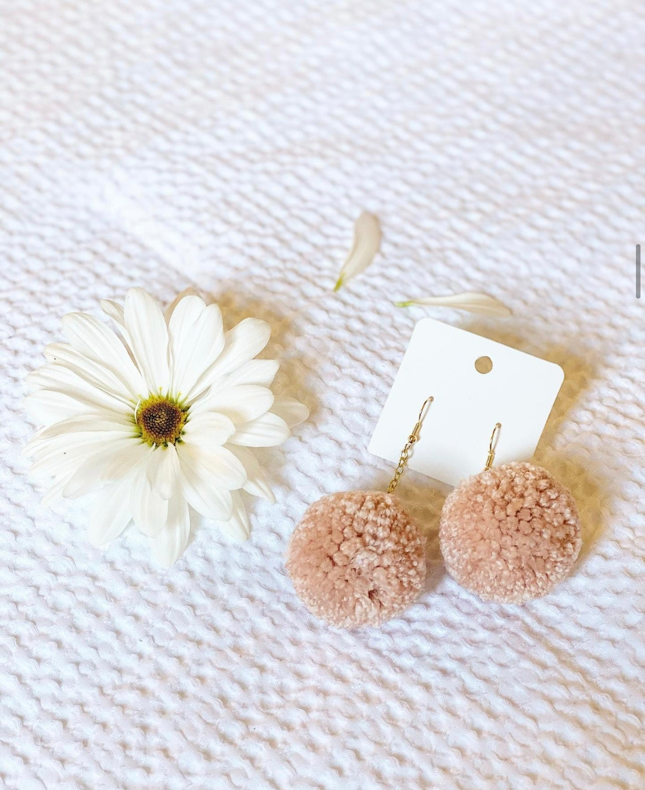 BLUSH POM EARRINGS