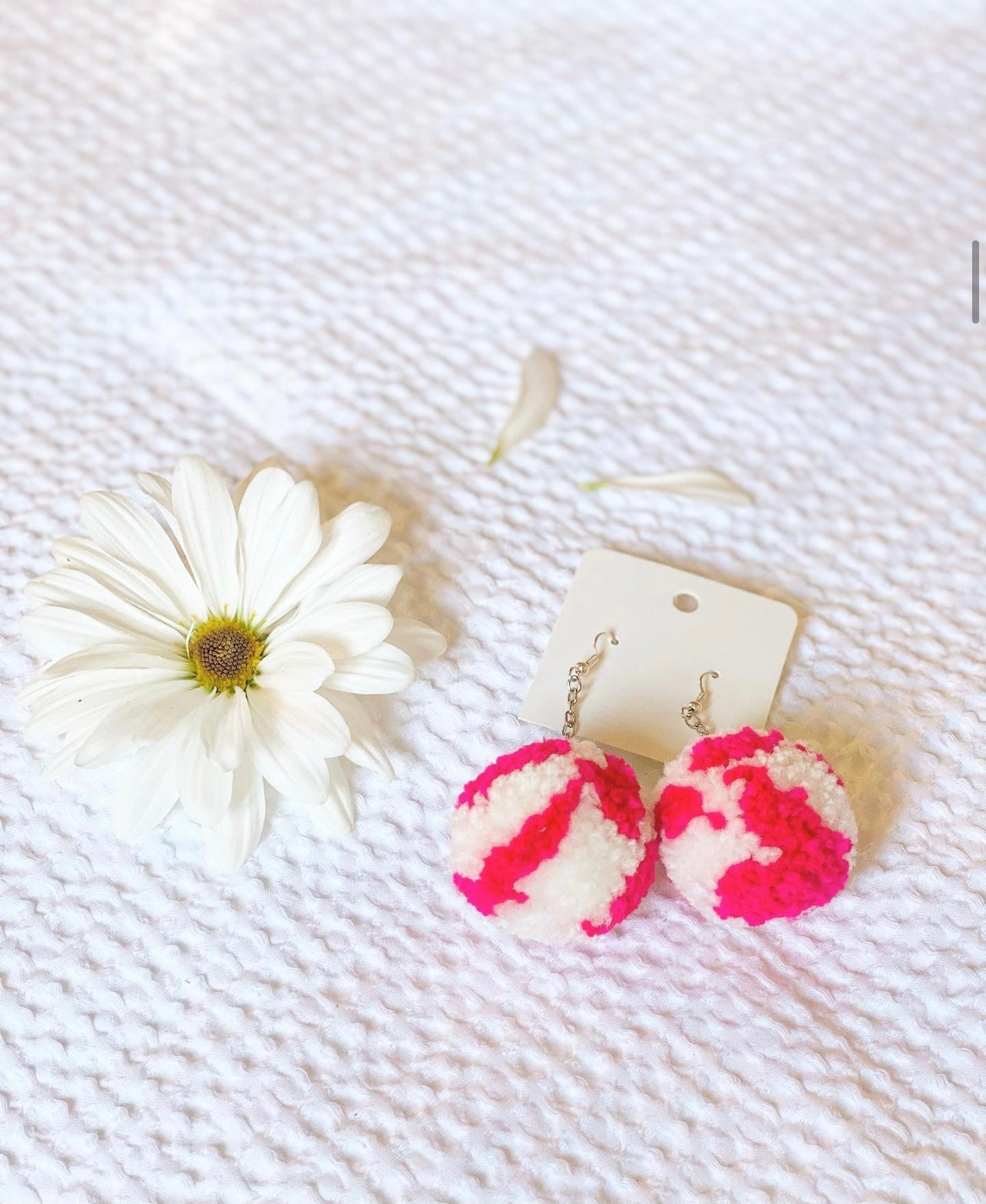 PINK/WHITE STRIPE POM EARRINGS
