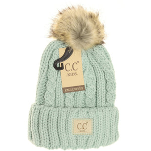 C.C KIDS Cable Ribbed Fur Pom Beanie