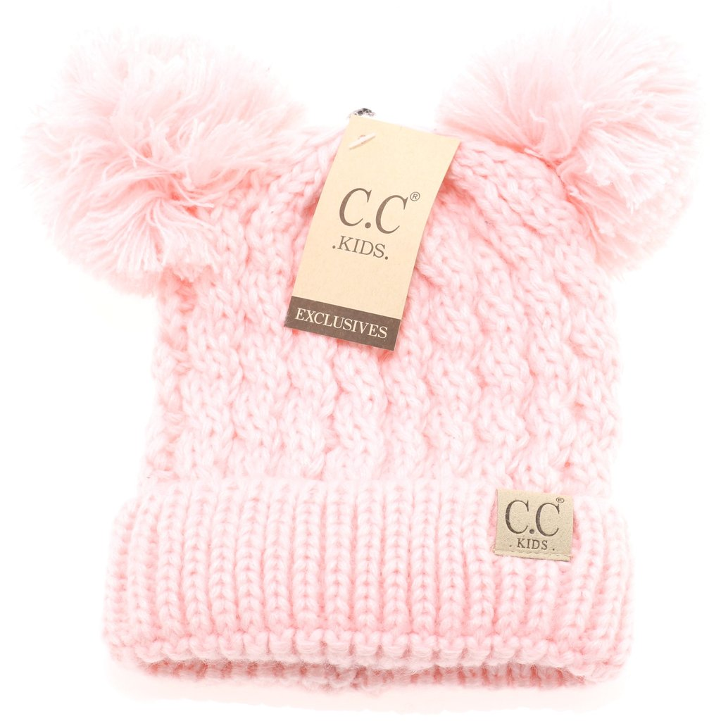C.C Beanie Kids Solid Double Pom