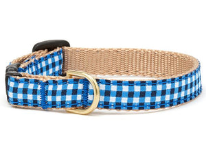 Navy Gingham Cat Collar