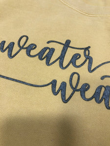 Sweater Weather Appliqué Crew Neck Sweatshirts