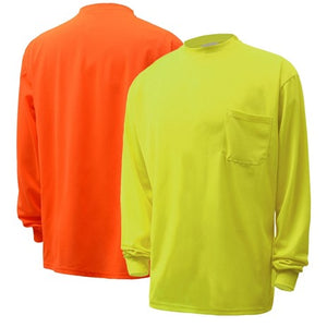 MOISTURE WICKING LONG SLEEVE SAFETY T-SHIRT WITH CHEST POCKET 5503/5504
