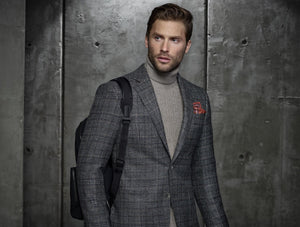 J44826 - Lanificio Grey and Brown Textured Check Jacket