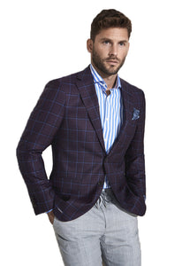 Burgundy And Blue Windowpane Jacket