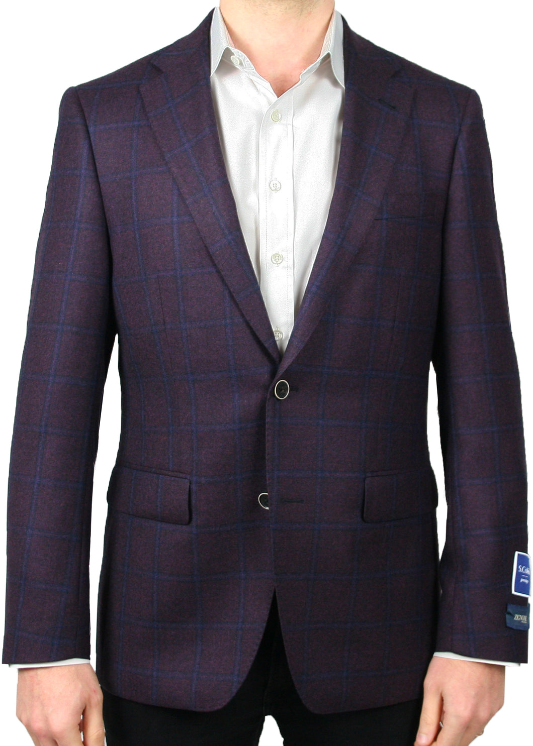 Zignone Burgundy and Blue Windowpane Jacket