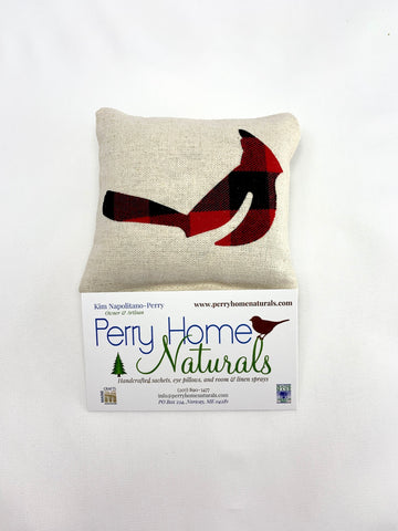 Cardinal Sachet in Linen with Choice of Size, Applique Color, and Scent