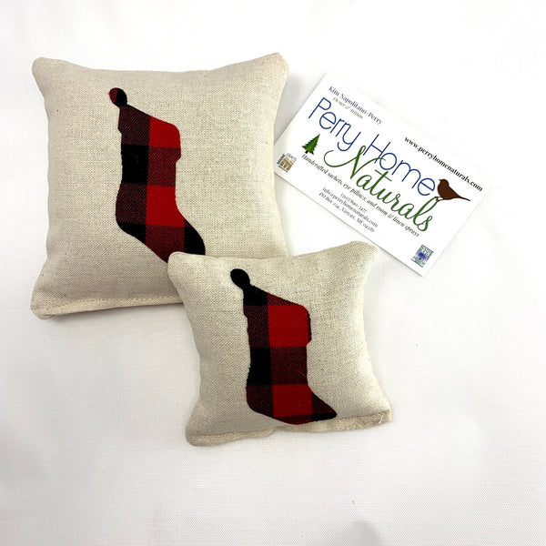 Christmas Stocking Balsam Fir Pillow - Choice of Size and Pattern