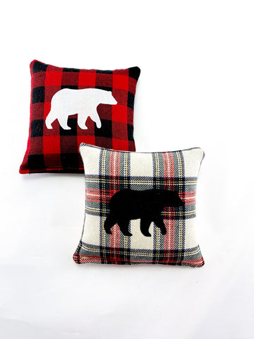 Maine Balsam Fir Set of Two Plaid Bear - Solids on Plaids