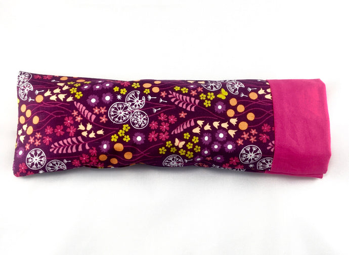 Eye Pillow with Removable Case and Choice of Organic Blend - Purple Flowers Design