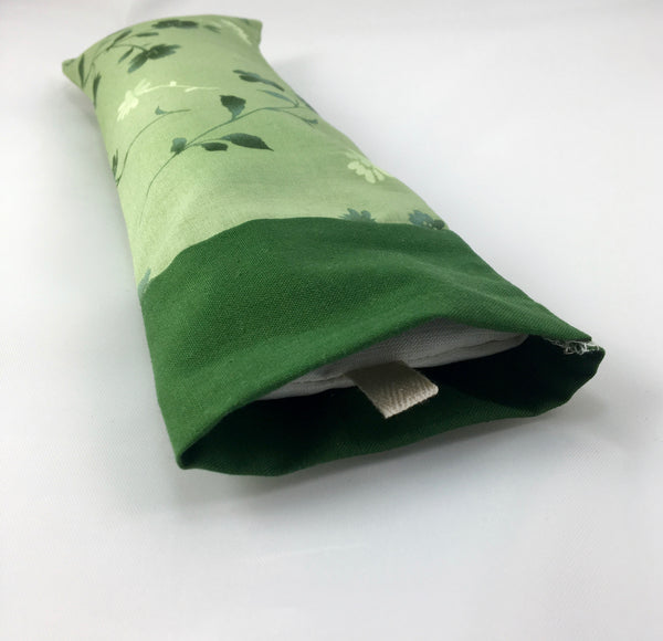 Eye Pillow with Removable Cover and Choice of Blend-Emerald Green Flowers