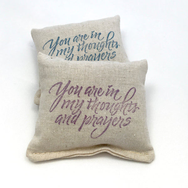 Sachet Scented Pillow Thoughts and Prayers Design - Choice of Scent and Ink Color