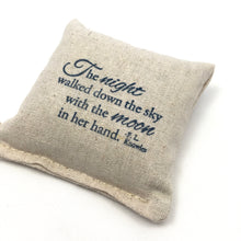 Load image into Gallery viewer, Scented Pillow Inked Night Poem Design - Choice of Scent and ink