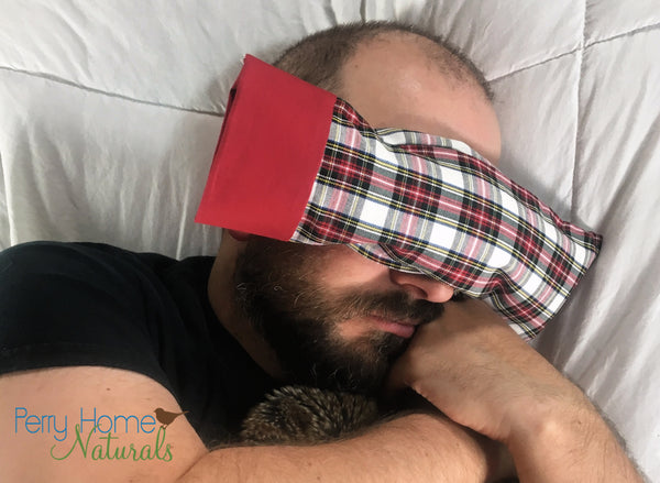 Eye Pillow with Removable Case and Choice of Organic Blend - Holiday Plaid