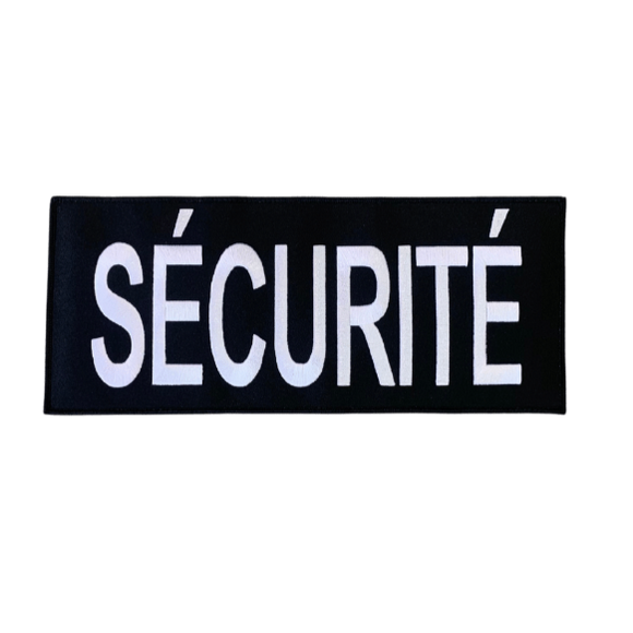 Large French Securite Patch - Embroidered w/ Velcro