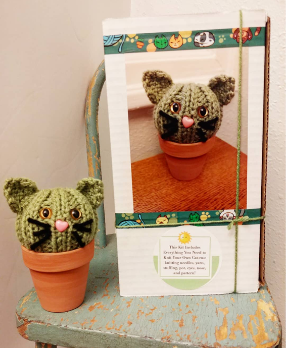 DIY Kitty Cat Cat-cus Potted Cactus Knitting Kit