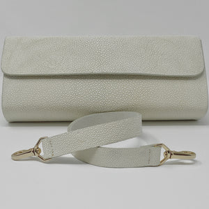 Ingrid- Stingray Caviar White Clutch