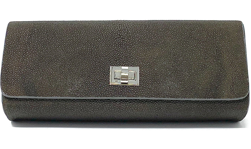 Ingrid- Stingray Caviar Brown Clutch