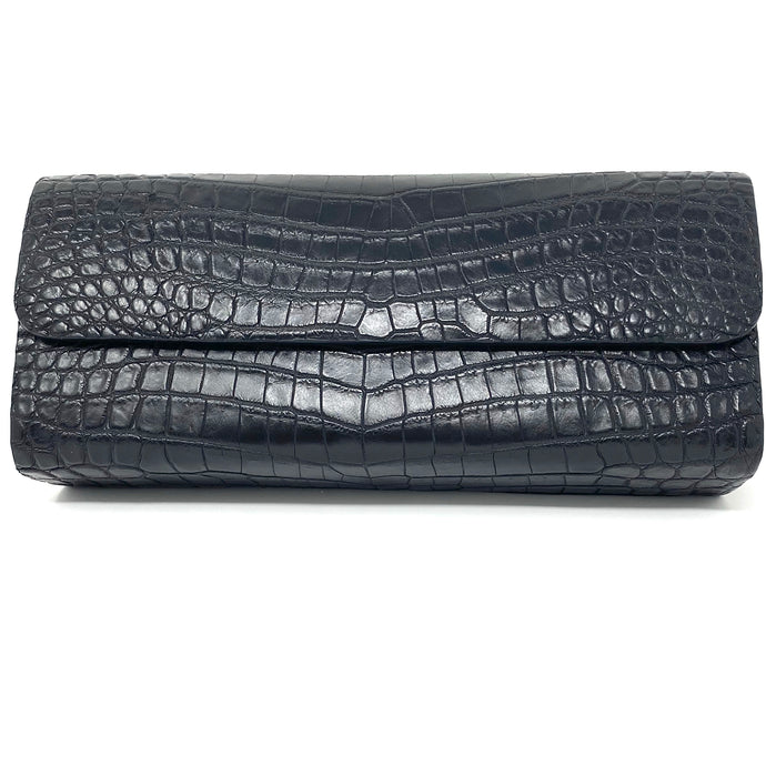 Ingrid- Alligator Black Clutch