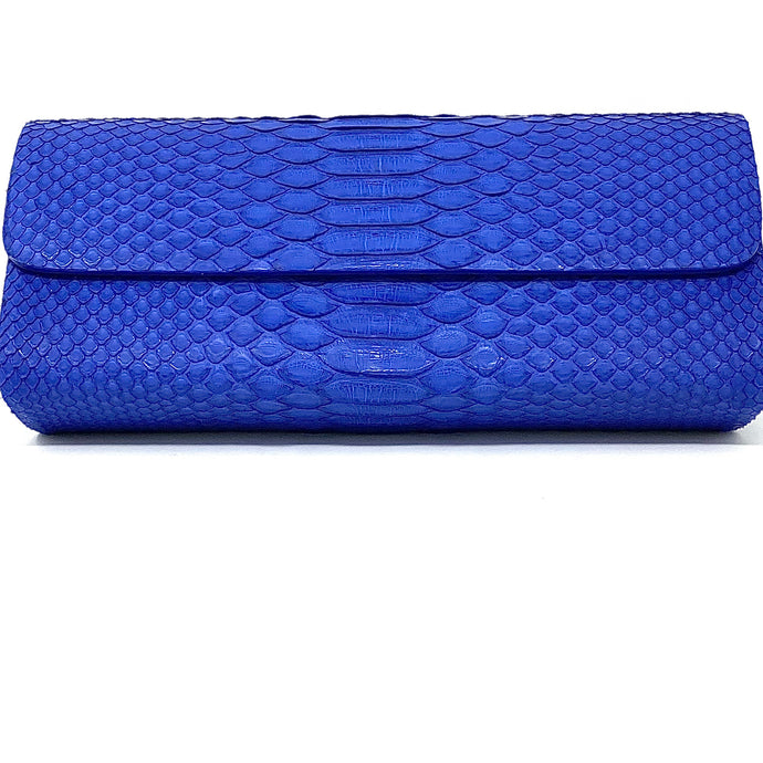 Ingrid- Python Royal Blue Clutch