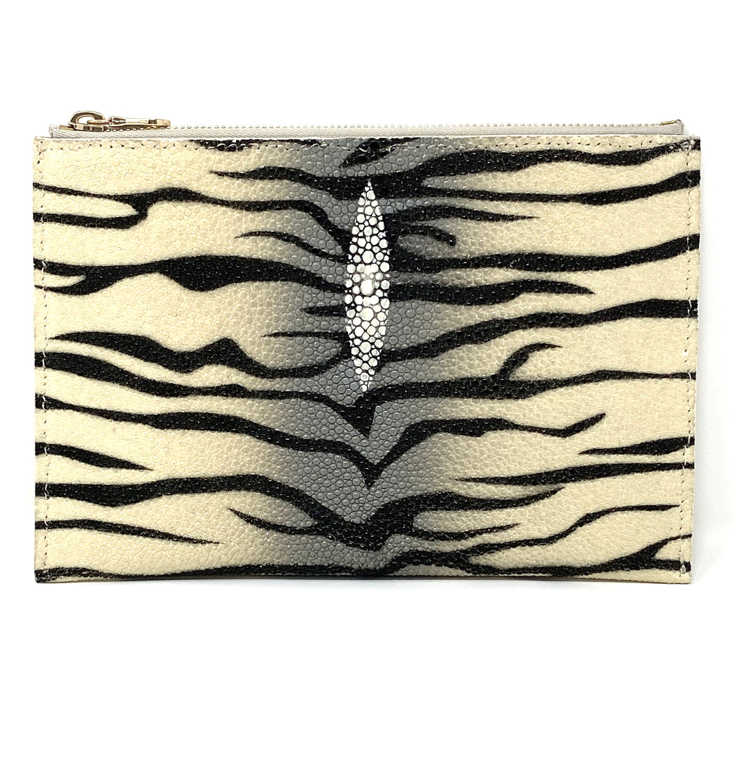 Sophia: Caviar Stingray- Zebra Zipper Clutch w/wristlet