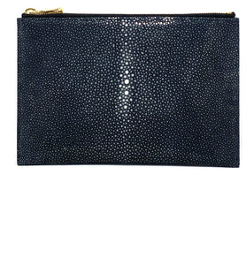 Sophia: Polished Stingray-Gray Zipper Clutch w/wristlet