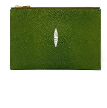 Load image into Gallery viewer, Sophia: Caviar Stingray - Olive Green Clutch w/wristlet