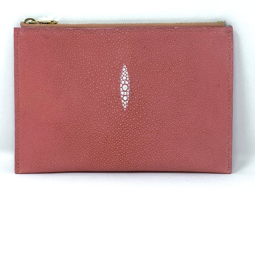 Sophia: Caviar Stingray- Pink Zipper Clutch w/wrislet