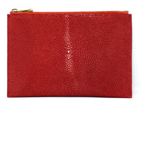 Load image into Gallery viewer, Sophia: Polished Stingray Red Zipper Clutch w/wristlet