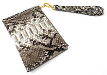 Load image into Gallery viewer, Sophia: Python- Natural Zipper Clutch w/wristlet