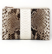 Load image into Gallery viewer, Sophia: Python- Natural with White Stripe Zipper Clutch w/ wristlet