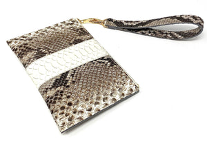 Sophia: Python- Natural with White Stripe Zipper Clutch w/ wristlet