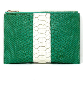 Sophia: Python- Green With White Stripe Zipper Clutch w/wristlet