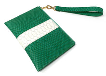 Load image into Gallery viewer, Sophia: Python- Green With White Stripe Zipper Clutch w/wristlet