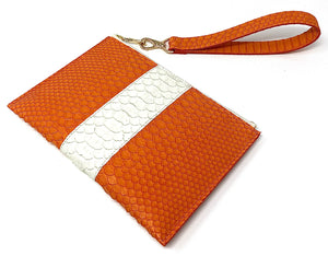 Sophia: Python- Orange with White Stripe Zipper Clutch w/wristlet