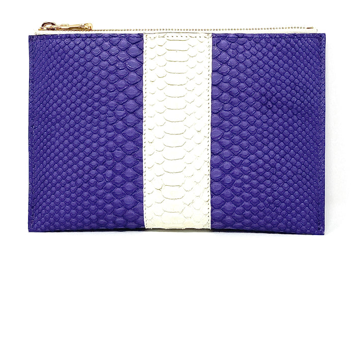 Sophia: Python Purple with White Stripe Zipper Clutch w/wristlet