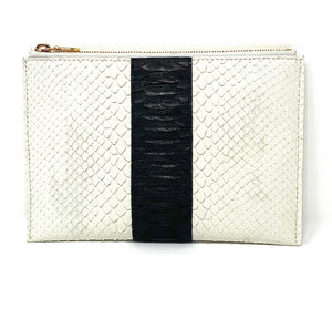 Sophia: White with Black Python Stripe Zipper Clutch w/wrislet