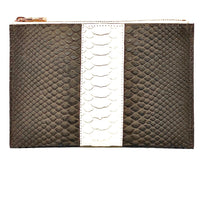 Load image into Gallery viewer, Sophia: Python- Brown with White Stripe Zipper Clutch w/wristlet
