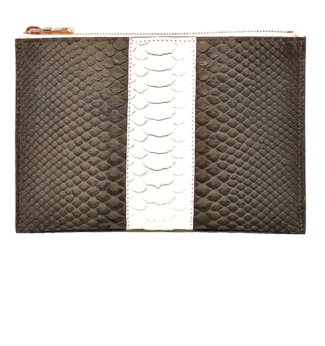 Sophia: Python- Brown with White Stripe Zipper Clutch w/wristlet
