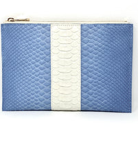 Load image into Gallery viewer, Sophia: Python- Light Blue With White Stripe Zipper Clutch w/wristlet