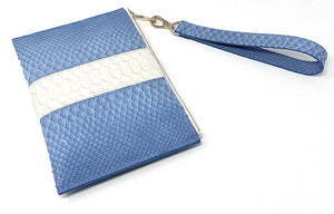 Sophia: Python- Light Blue With White Stripe Zipper Clutch w/wristlet