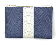Load image into Gallery viewer, Sophia: Python- Denim Blue with White Stripe Zipper Clutch w/wristlet