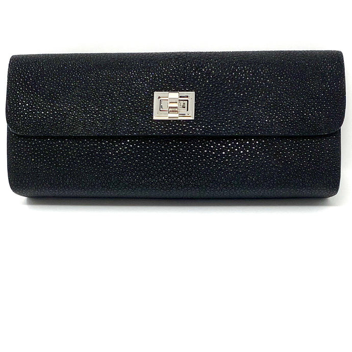 Ingrid- Stingray Caviar Black Clutch
