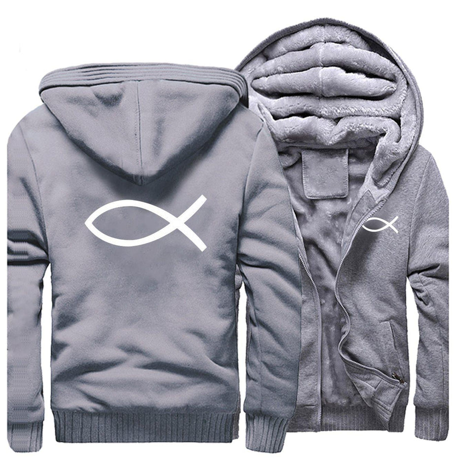 Christian Jesus Fish Symbol Ichthys Thick Fleece Faith Hoodie Sweatshirt-Hoodies & Sweatshirts-TheWantsies.com
